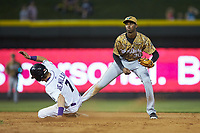 Down East Wood Ducks shortstop Brendon Davis (30) forces out Zach Remillard (7) of the Winston-Salem Dash at second base at BB&T Ballpark on May 12, 2018 in Winston-Salem, North Carolina. The Wood Ducks defeated the Dash 7-5. (Brian Westerholt/Four Seam Images)