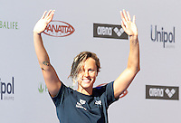 Trofeo Settecolli di nuoto al Foro Italico, Roma, 13 giugno 2013.<br /> Federica Pellegrini, of Italy, waves to fans at the Sevenhills swimming trophy in Rome, 13 June 2013.<br /> UPDATE IMAGES PRESS/Isabella Bonotto