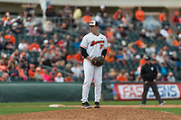 Oregon State Beavers relief pitcher Brandon Eisert (37) pitches during a game against the New Mexico Lobos on February 15, 2019 at Surprise Stadium in Surprise, Arizona. Oregon State defeated New Mexico 6-5. (Zachary Lucy/Four Seam Images)