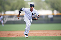 New York Yankees Dermis Garcia (31) during an Instructional League game against the Pittsburgh Pirates on September 29, 2017 at the Yankees Minor League Complex in Tampa, Florida.  (Mike Janes/Four Seam Images)