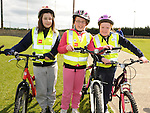 Caitlyn Boylan and Zoe and Sophie Myles who took part in the Glyde Rangers annual sponsored cycle in Tallinstown. Photo: Colin Bell/pressphotos.ie