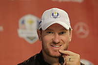 Chris Wood (ENG) Team Europe press conference during Thursday's Practice Day of the 41st RyderCup held at Hazeltine National Golf Club, Chaska, Minnesota, USA. 29th September 2016.<br /> Picture: Eoin Clarke | Golffile<br /> <br /> <br /> All photos usage must carry mandatory copyright credit (&copy; Golffile | Eoin Clarke)