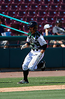 Lake Elsinore Storm left fielder Robbie Podorsky (3) hustles towards home plate during a California League game against the Inland Empire 66ers on April 14, 2019 at The Diamond in Lake Elsinore, California. Lake Elsinore defeated Inland Empire 5-3. (Zachary Lucy/Four Seam Images)