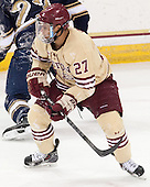 Quinn Smith (BC - 27) - The visiting University of Notre Dame Fighting Irish defeated the Boston College Eagles 2-1 in overtime on Saturday, March 1, 2014, at Kelley Rink in Conte Forum in Chestnut Hill, Massachusetts.