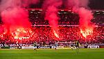 Solna 2014-08-13 Fotboll Allsvenskan AIK - Djurg&aring;rdens IF :  <br /> Djurg&aring;rdens supportrar eldar med bengaliska eldar som bildar initialerna DIF<br /> (Foto: Kenta J&ouml;nsson) Nyckelord:  AIK Gnaget Friends Arena Allsvenskan Derby Djurg&aring;rden DIF supporter fans publik supporters bengaler bengaliska eldar pyroteknik pyro