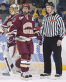 Cory Schneider, Peter Harrold - The University of Massachusetts-Lowell River Hawks defeated the Boston College Eagles 6-3 on Saturday, February 25, 2006, at the Paul E. Tsongas Arena in Lowell, MA.