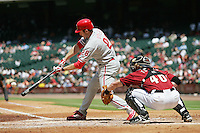 Philadelphia Phillies 2B Chase Utley against the Houston Astros on Sunday April 11th, 2010 at Minute Maid Park in Houston, Texas.  (Photo by Andrew Woolley / Four Seam Images)