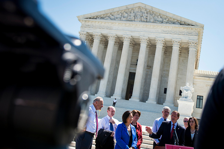 UNITED STATES: July 10: Sen. Richard Blumenthal, D-Conn., speaks alongside fellow Democratic Senators who gathered outside of the Supreme Court to express their disapproval of President Donald Trump's nomination of Judge Brett Kavanaugh to replace Supreme Court Justice Anthony Kennedy Tuesday July 10, 2018. (Photo by Sarah Silbiger/CQ Roll Call)