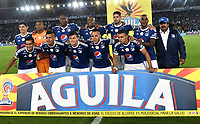 BOGOTA - COLOMBIA - 18 – 02 - 2018: Los jugadores de Millonarios, posan para una foto, durante partido de la fecha 4 entre Millonarios y Atletico Nacional, por la Liga Aguila I 2018, jugado en el estadio Nemesio Camacho El Campin de la ciudad de Bogota. / The players of Millonarios, pose for a photo, during a match of the 4th date between Millonarios and Atletico Nacional, for the Liga Aguila I 2018 played at the Nemesio Camacho El Campin Stadium in Bogota city, Photo: VizzorImage / Luis Ramirez / Staff.