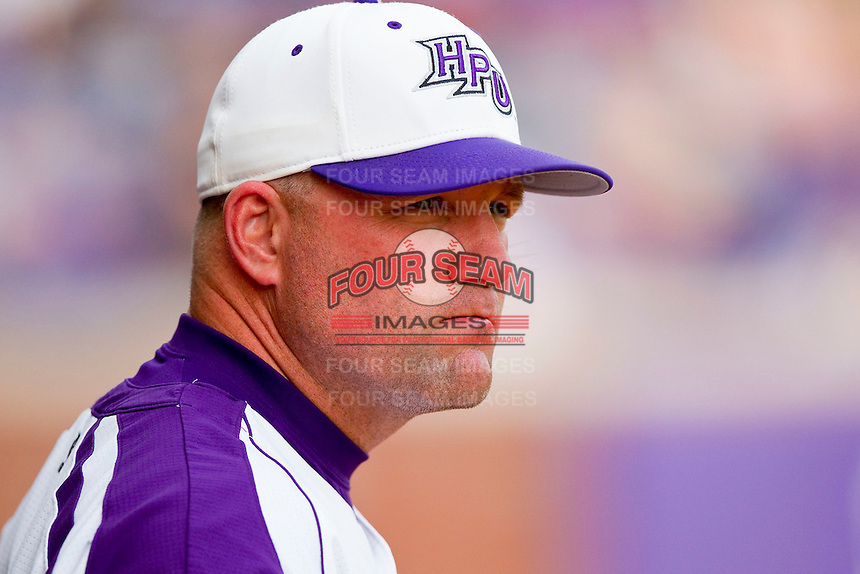 High Point Panthers head coach Craig Cozart #38 during the game against the VMI Keydets at Willard Stadium on March 30, 2012 in High Point, North Carolina.  The Panthers defeated the Keydets 11-3.  (Brian Westerholt/Four Seam Images)