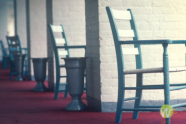 Chairs on the porch of the Bedford Springs Hotel