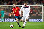Spain's Jordi Alba and Norway's Omar Elabdellaoui  during the qualifying match for Euro 2020 on 23th March, 2019 in Valencia, Spain. (ALTERPHOTOS/Alconada)