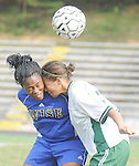 The Gazette. Wise's Lauren Robertson, left is challenged in the air by Parkdale's Yah Sawah during the first half of the the two team's match at Parkdale High School on Tuesday afternoon.
