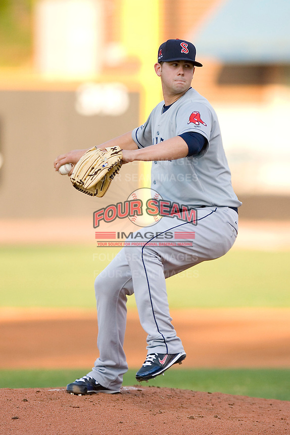 Starting pitcher Casey Kelly #17 of the Salem Red Sox in action versus the Winston-Salem Dash at Wake Forest Baseball Stadium July 7, 2009 in Winston-Salem, North Carolina. (Photo by Brian Westerholt / Four Seam Images)