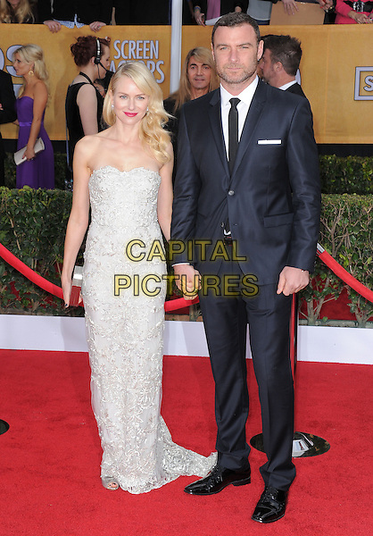 Naomi Watts (wearing Marchesa) & Liev Schreiber.Arrivals at the 19th Annual Screen Actors Guild Awards at the Shrine Auditorium in Los Angeles, California, USA..27th January 2013.SAG SAGs full length grey gray lace strapless dress black suit holding hands couple.CAP/DVS.©DVS/Capital Pictures.