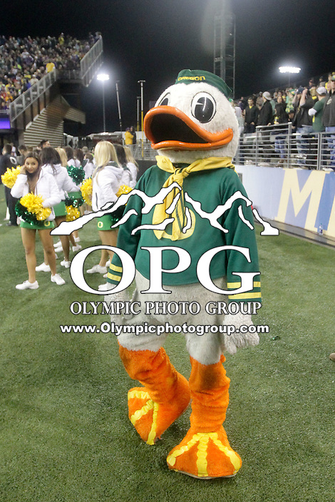 OCT 17:  Oregon's Fighting Duck against Washington. Oregon defeated Washington 26-20 at Husky Stadium in Seattle, WA.