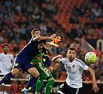 Valencia's Jaume Domenech, Javi Fuego and Malaga CF's Charles during La Liga match. October 17, 2015. (ALTERPHOTOS/Javier Comos)