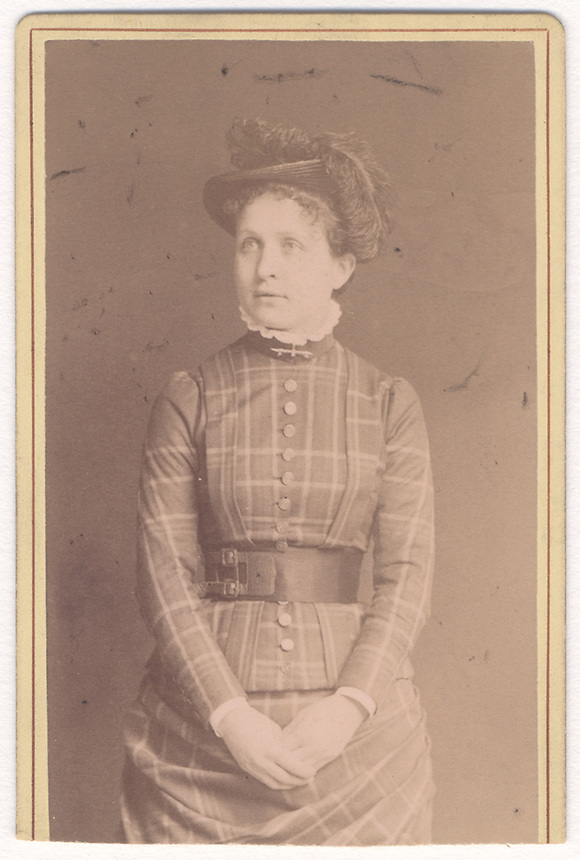 5a.<br /> <br /> (1) 3 1/2  x  2 1/4  [sepia]3 7/8  x  2 1/2  [card stock]<br /> Sarah Crone portrait, three-quarter frontal figure<br /> mounted on heavy card stock, trimmed at bottom<br /> <br /> verso<br /> SCHULTER &amp; Co.<br /> PHOTOGRAPHISCHES ATELIER<br /> LANDWEHR STRASSE 18<br /> M&Uuml;NCHEN<br /> in hand of Sarah Crone, top<br /> Eliza<br /> Love from Sadie<br /> <br /> This must have been taken after the marriage or at the time of the marriage.