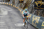 Miguel Angel Lopez (COL) Astana Pro Team on the brutal climb of Los Machucos during Stage 17 of the 2017 La Vuelta, running 180.5km from Villadiego to Los Machucos. Monumento Vaca Pasiega, Spain. 6th September 2017.<br /> Picture: Unipublic/&copy;photogomezsport | Cyclefile<br /> <br /> <br /> All photos usage must carry mandatory copyright credit (&copy; Cyclefile | Unipublic/&copy;photogomezsport)