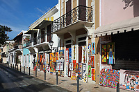 Shops selling local handicrafts on the Calle Arzobispo Merino, in the Colonial Zone of Santo Domingo, Dominican Republic, in the Caribbean. Santo Domingo's Colonial Zone is listed as a UNESCO World Heritage Site. Picture by Manuel Cohen