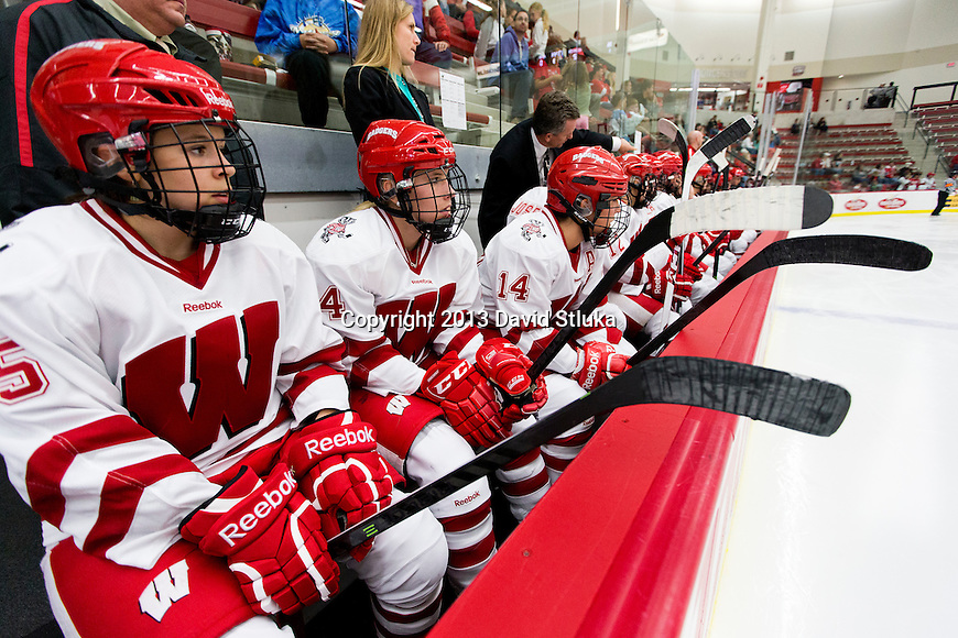 Wisconsin Badgers teammates look on against Team Japan during a women's hockey exhibition in Madison, Wisconsin, on September 23, 2013. The Badgers won 3-0. (Photo by David Stluka)