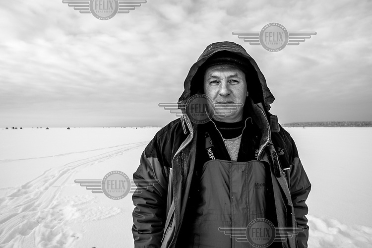 Roman, a worker at a thermal power station in Narva, on an ice fishing trip on Peipsi Lake.