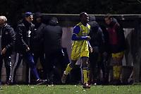 Joshua Osude of Hashtag United celebrates scoring the first goal during Walthamstow vs Hashtag United, Essex Senior League Football at Wadham Lodge Sports Ground on 30th November 2019