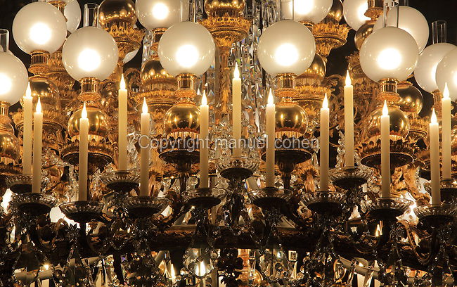 "Detail of the original chandelier lighting from the 19th century, Theatre Imperial Napoleon III de Fontainebleau (Fontainebleau Theatre Napoleon III), 1853-1856, by Hector Lefuel, Fontainebleau, Seine-et-Marne, France. Restoration of the theatre began in Spring 2013 thanks to an agreement between the Emirate of Abu Dhabi and the French Governement dedicating 5 M€ to the restoration.  In recognition of the sponsorship by the Emirate of Abu Dhabi, French Governement decided to rename the theatre as ""Theatre Cheikh Khalifa bin Zayed Al Nahyan"" (Cheikh Khalifa bin Zayed Al Nahyan Theatre). The achievement of the first stage of renovation has allowed the opening of the theatre to the public on May 3, 2014. Picture by Manuel Cohen"
