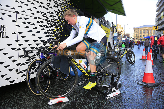 Jessica Allen Australia warms up before the start of the Women Elite Road Race of the UCI World Championships 2019 running 149.4km from Bradford to Harrogate, England. 28th September 2019.<br /> Picture: Eoin Clarke | Cyclefile<br /> <br /> All photos usage must carry mandatory copyright credit (© Cyclefile | Eoin Clarke)
