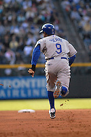 Los Angeles Dodgers left fielder Juan Pierre successfully steals 2nd base against the Colorado Rockies during the Dodgers 12-7 win inDenver, Colorado on May 3. FOR EDITORIAL USE ONLY