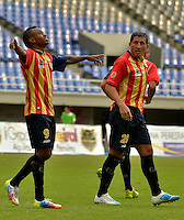 PEREIRA -COLOMBIA-01-11-2014. Bosco Frontan (#9) celebra un gol durante el encuentro entre Aguilas Pereira y Deportivo Pasto por la fecha 17 de la Liga Postobon II 2014 jugado en el estadio Hernán Ramírez Villegas de Pereira./ Bosco Frontan (#9)player of Aguilas celebrates a goal the match between Aguilas Pereira and Deportivo Pasto for the 17th date of the Postobon League II 2014 played at Hernan Ramirez Villegas of Pereira city.  Photo:VizzorImage/ CONT