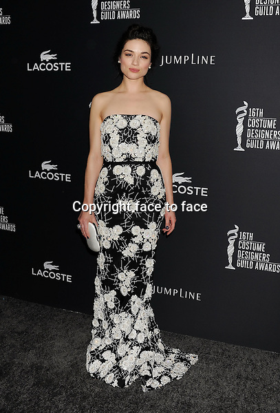 BEVERLY HILLS, CA- FEBRUARY 22: Actress Crystal Reed arrives at the 16th Costume Designers Guild Awards at The Beverly Hilton Hotel on February 22, 2014 in Beverly Hills, California.<br /> Credit: Mayer/face to face<br /> - No Rights for USA, Canada and France -