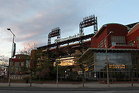 Citizens Bank Park, home of the Philadelphia Phillies, exterior view on April 8, 2012 in Philadelphia, Pennsylvania.  (Mike Janes/Four Seam Images)