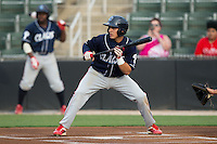 Emmanuel Marrero (16) of the Lakewood BlueClaws squares to bunt against the Kannapolis Intimidators at Kannapolis Intimidators Stadium on May 9, 2016 in Kannapolis, North Carolina.  The BlueClaws defeated the Intimidators 4-1.  (Brian Westerholt/Four Seam Images)