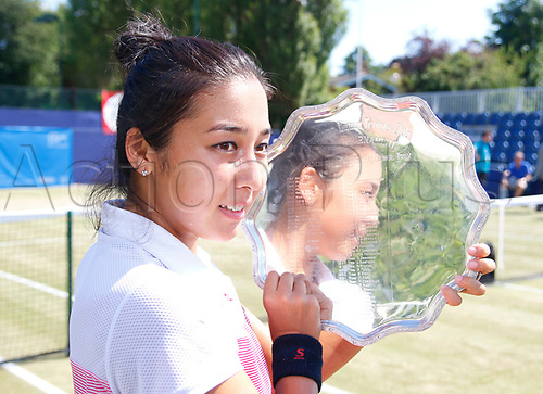 June 18th 2017, The Northern Lawn tennis Club, Manchester, England; ITF Womens tennis tournament; Zarina Dyas (KAZ) with her trophy after her singles final match win against Aleksandra Krunic (SRB); Dyas won in straight sets