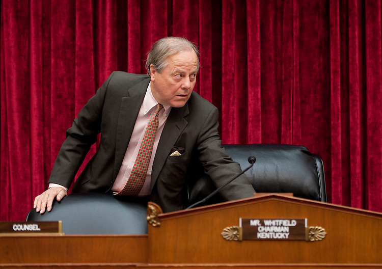 "UNITED STATES - JUNE 13: Subcommittee on Energy and Power chairman Ed Whitfield, R-Ky., arrives to hold a hearing on H.R.2054, the ""Energy and Revenue Enrichment Act of 2011 on Monday, June 13, 2011. Senate Minority Leader Mitch McConnell testified during the hearing. (Photo By Bill Clark/Roll Call)"