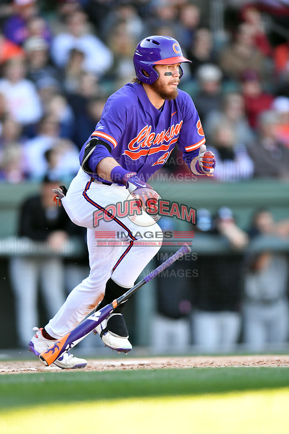 Clemson Tigers right fielder Seth Beer (28) swings at a pitch during a game against the South Carolina Gamecocks at Fluor Field on March 3, 2018 in Greenville, South Carolina. The Tigers defeated the Gamecocks 5-1. (Tony Farlow/Four Seam Images)