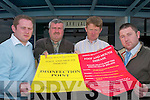 William Shorthall (IFA Development Officer), John Stack ( IFA County Chairman), William Dennehy (ICMSA County Chairman) and Edward OSullivan (ICMSA Development Officer) check out the Foot and Mouth disinfection point at the Arrivals hall at Kerry Airport on  Wednesday..