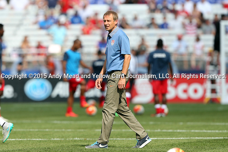 18 July 2015: U.S. head coach Jurgen Klinsmann (GER). The United States Men's National Team played the Cuba Men's National Team at M&T Bank Stadium in Baltimore, Maryland in a 2015 CONCACAF Gold Cup quarterfinal match. The U.S. won the game 6-0.