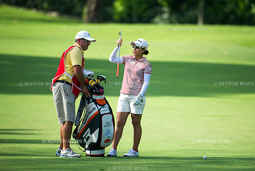 Mika Miyazato (JPN), MARCH 2, 2013 - Golf : Mika Miyazato of Japan with her caddie during the third round of the the HSBC Women's Champions golf tournament at Sentosa Golf Club in Singapore. (Photo by Haruhiko Otsuka/AFLO)
