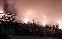 Hertha Fans with flares<br />