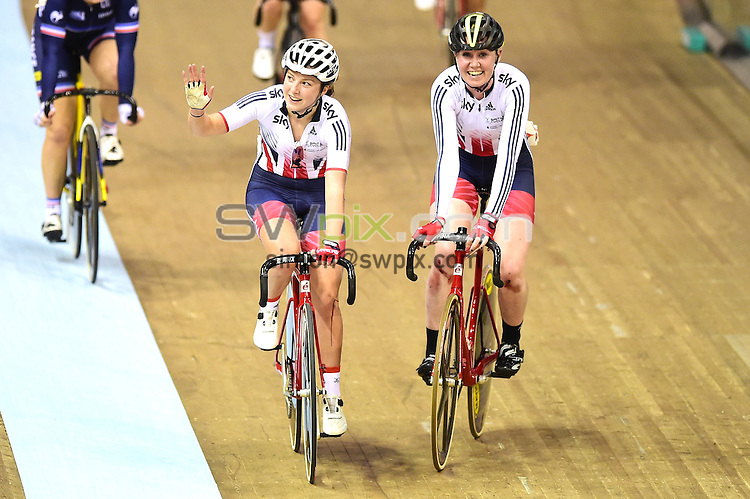 Picture by Alex Broadway/SWpix.com - 05/11/2016 - Cycling - 2016 UCI Track Cycling World Cup, Day 2 - Sir Chris Hoy Velodrome, Glasgow, United Kingdom - Woman's Madison Final - Katie Archibald and Manon Lloyd of Great Britain celebrate victory.