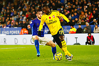 9th November 2019; King Power Stadium, Leicester, Midlands, England; English Premier League Football, Leicester City versus Arsenal; Nicolas Pepe of Arsenal is watched by Ben Chilwell of Leicester City - Strictly Editorial Use Only. No use with unauthorized audio, video, data, fixture lists, club/league logos or 'live' services. Online in-match use limited to 120 images, no video emulation. No use in betting, games or single club/league/player publications