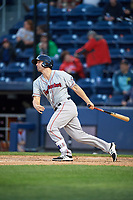 Pawtucket Red Sox designated hitter Sam Travis (15) gets a base hit during a game against the Scranton/Wilkes-Barre RailRiders on May 15, 2017 at PNC Field in Moosic, Pennsylvania.  Scranton defeated Pawtucket 8-4.  (Mike Janes/Four Seam Images)
