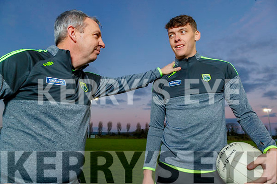 Kerry senior football team Manager Peter Keane and captain David Clifford