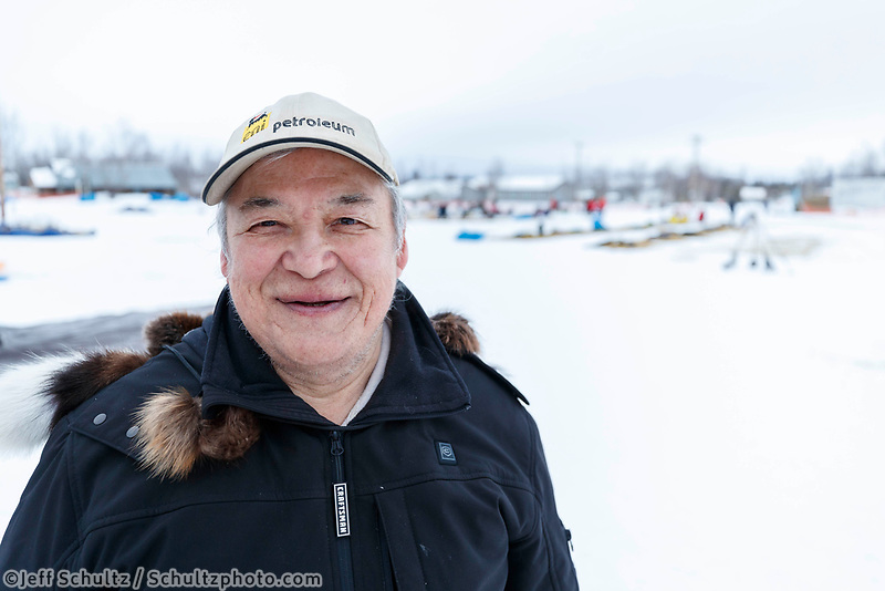 Legendary dog musher Warner Vent at the Huslia checkpoint during the 2017 Iditarod on Saturday morning March 11, 2017.<br /> <br /> Photo by Jeff Schultz/SchultzPhoto.com  (C) 2017  ALL RIGHTS RESERVED
