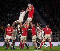 Wales' Cory Hill claims a line out<br /> <br /> Photographer Bob Bradford/CameraSport<br /> <br /> NatWest Six Nations Championship - England v Wales - Saturday 10th February 2018 - Twickenham Stadium - London<br /> <br /> World Copyright &copy; 2018 CameraSport. All rights reserved. 43 Linden Ave. Countesthorpe. Leicester. England. LE8 5PG - Tel: +44 (0) 116 277 4147 - admin@camerasport.com - www.camerasport.com
