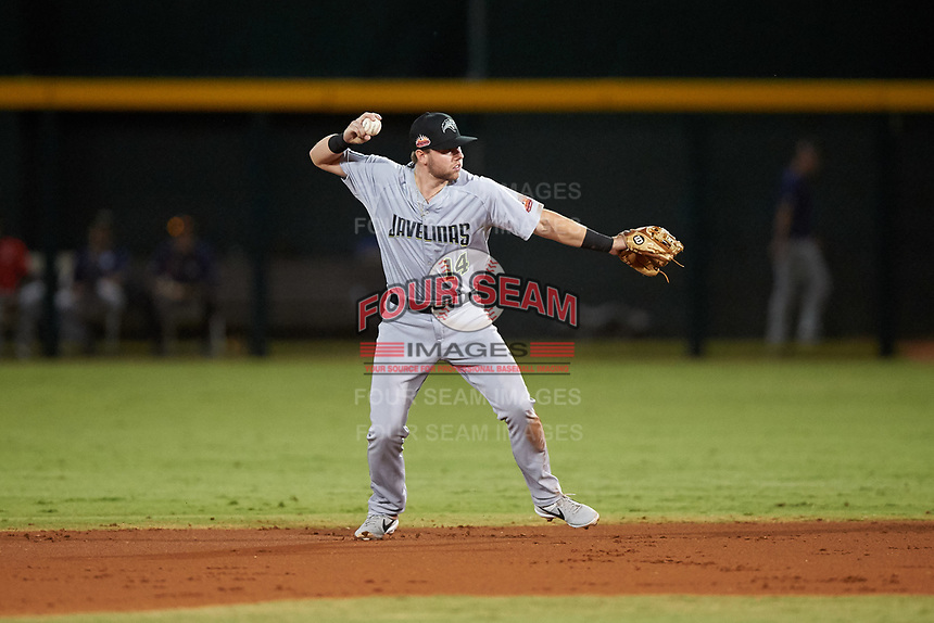 Peoria Javelinas second baseman Owen Miller (14), of the San Diego Padres organization, throws to first base during an Arizona Fall League game against the Mesa Solar Sox on September 21, 2019 at Sloan Park in Mesa, Arizona. Mesa defeated Peoria 4-1. (Zachary Lucy/Four Seam Images)