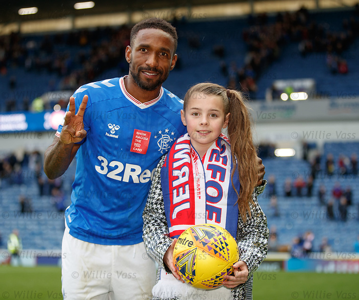 06.10.2019 Rangers v Hamilton: Jermain Defoe celebrates his hat-trick with 9yr old Amber Smith who gets his match shirt as a souveneir