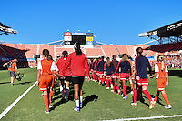Houston, TX - Sunday Oct. 09, 2016: Western New York Flash, Washington Spirit  prior to a National Women's Soccer League (NWSL) Championship match between the Washington Spirit and the Western New York Flash at BBVA Compass Stadium.